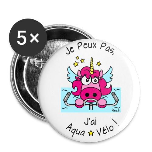 Pack 5 Badges 32mm Licorne Je Peux Pas, J'ai Aqua-Vélo - Badge moyen 32 mm