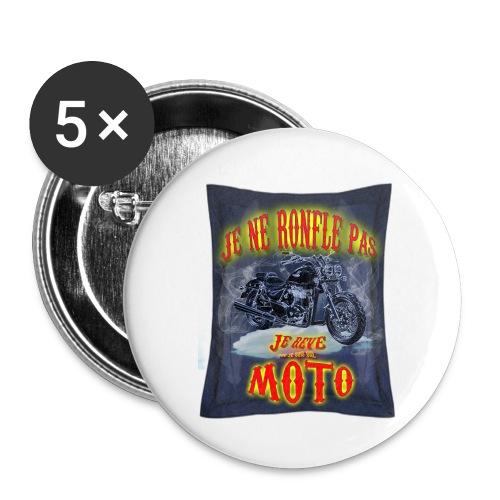 Je ne ronfle pas, je rêve que je suis une moto - Badge grand 56 mm