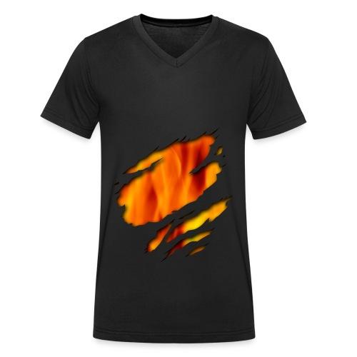 Feuer-T-shirt - Männer Bio-T-Shirt mit V-Ausschnitt von Stanley & Stella