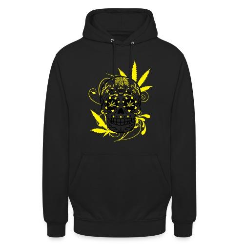 Pull avec tête de mort et feuille de cannabis jaune - Sweat-shirt à capuche unisexe