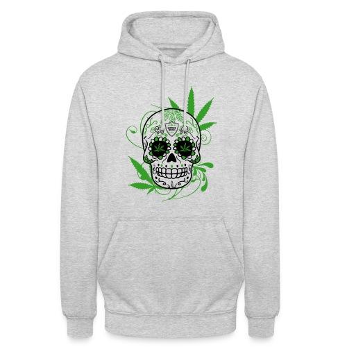 Pull avec tête de mort et feuille de cannabis vert - Sweat-shirt à capuche unisexe