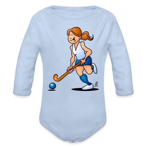 Field  hockey girl Baby Bodysuits - Organic Longsleeve Baby Bodysuit