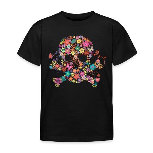 t-shirt enfant 3-4 ans  tête de mort fleurs  - T-shirt Enfant