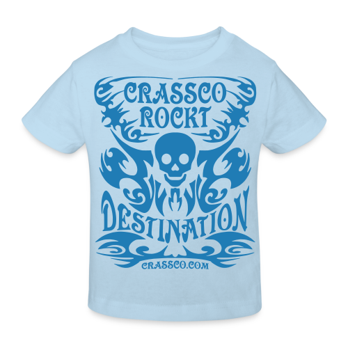 SKULL DESTINATION Blau-Glitzer - Kinder Bio-T-Shirt