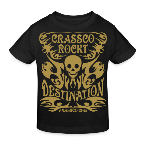 SKULL DESTINATION Gold-Glitzer - Kinder Bio-T-Shirt