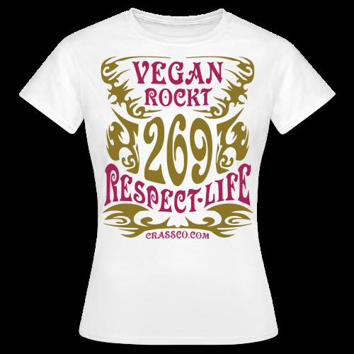 VEGAN RESPECT LIFE (mit GOLD-Effekt) - Frauen T-Shirt