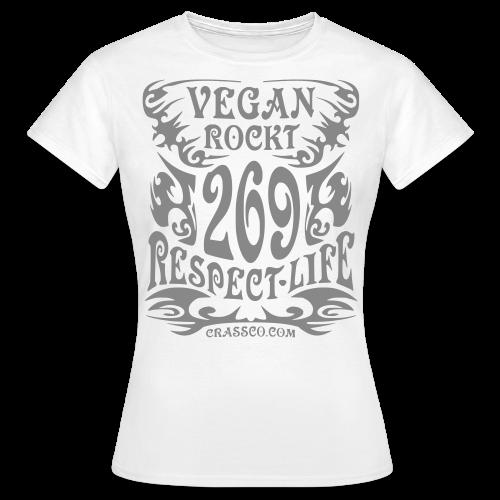 VEGAN RESPECT LIFE (Silber-Glitzer) - Frauen T-Shirt