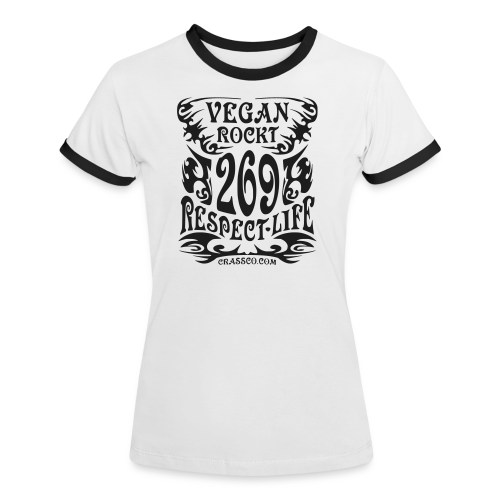 VEGAN RESPECT LIFE (Schwarz-Glitzer) - Frauen Kontrast-T-Shirt