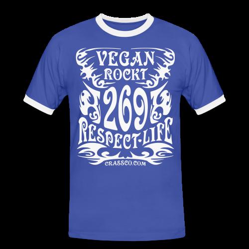 VEGAN RESPECT LIFE (Weiß-Glitzer) - Männer Kontrast-T-Shirt