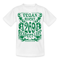 VEGAN RESPECT LIFE (Grün-Glitzer) - Teenager T-Shirt