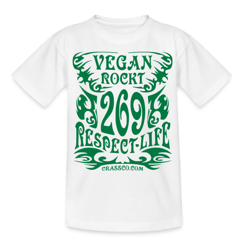 VEGAN RESPECT LIFE (Grün-Glitzer) - Teenager T-Shirt
