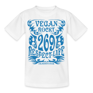 VEGAN RESPECT LIFE (Blau-Glitzer) - Teenager T-Shirt