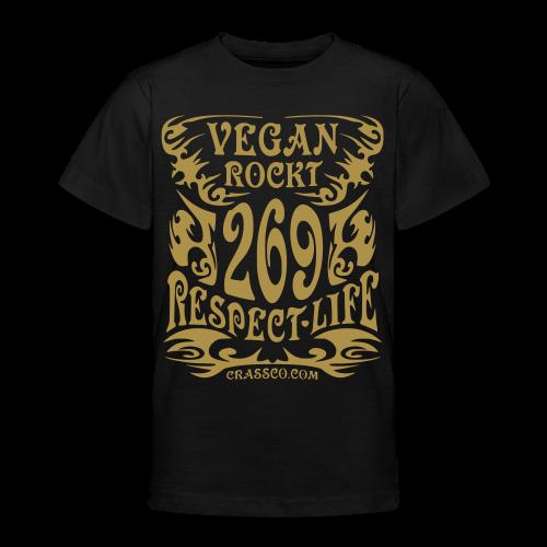 VEGAN RESPECT LIFE (Gold-Glitzer) - Teenager T-Shirt