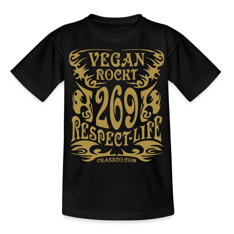 VEGAN RESPECT LIFE (Gold-Glitzer) - Teenager T-Shirt