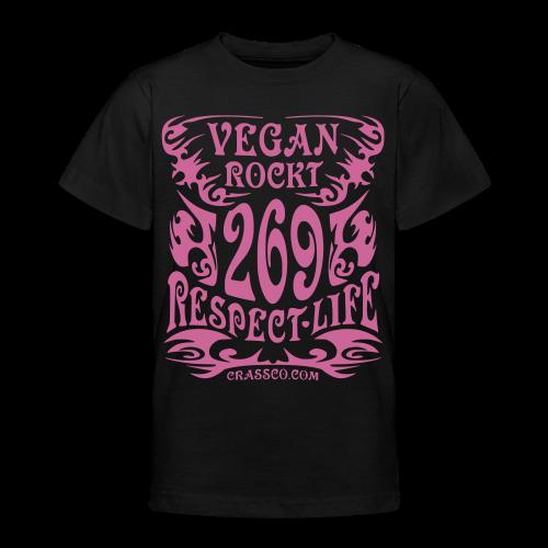 VEGAN RESPECT LIFE (Pink-Glitzer) - Teenager T-Shirt