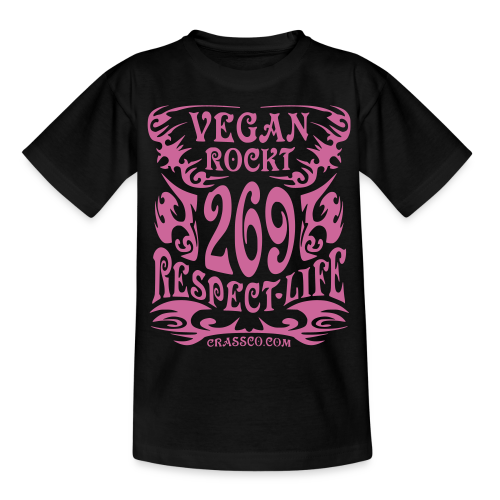 VEGAN RESPECT LIFE (Pink-Glitzer) - Teenager T-Shirt