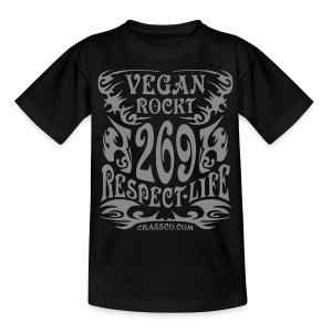 VEGAN RESPECT LIFE (Silber-Glitzer) - Teenager T-Shirt