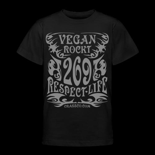 VEGAN RESPECT LIFE (Silber-Glitzer) - Teenager T-Shirt