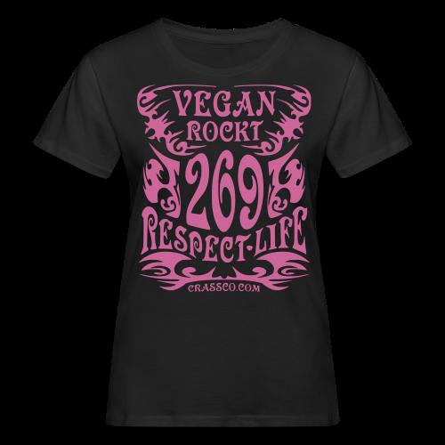 VEGAN RESPECT LIFE (Pink-Glitzer) - Frauen Bio-T-Shirt