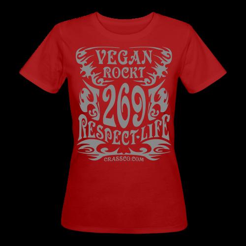 VEGAN RESPECT LIFE (Silber-Glitzer) - Frauen Bio-T-Shirt