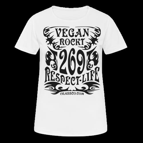 VEGAN RESPECT LIFE (Schwarz-Glitzer) - Frauen T-Shirt atmungsaktiv