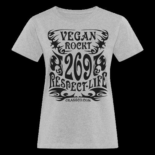 VEGAN RESPECT LIFE (Schwarz-Glitzer) - Frauen Bio-T-Shirt