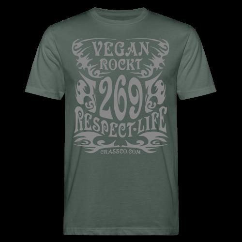 VEGAN RESPECT LIFE (Silber-Glitzer) - Männer Bio-T-Shirt