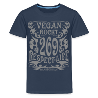 VEGAN RESPECT LIFE (Silber-Glitzer) - Teenager Premium T-Shirt