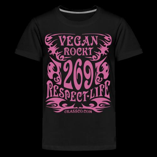 VEGAN RESPECT LIFE (Pink-Glitzer) - Teenager Premium T-Shirt