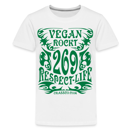 VEGAN RESPECT LIFE (Grün-Glitzer) - Teenager Premium T-Shirt