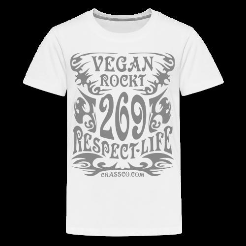 VEGAN RESPECT LIFE (Silber-Glitzer) - Teenager Premium T-Shirt