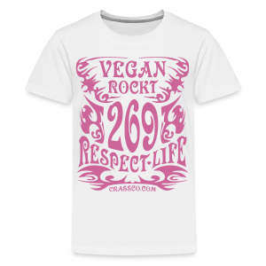 VEGAN RESPECT LIFE (Pink-Glitzer) - Teenager Premium T-Shirt