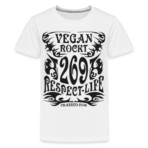 VEGAN RESPECT LIFE (Schwarz-Glitzer) - Teenager Premium T-Shirt