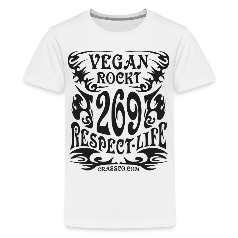 VEGAN RESPECT LIFE (Schwarz-Glitzer) - Teenager Premium T-Shirt