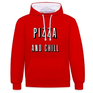 Pizza and chill Hoodies & Sweatshirts - Contrast Colour Hoodie