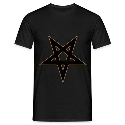 Pentagramm Schwarz Gold | Herren Shirt - Männer T-Shirt