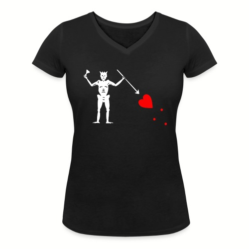 Tee shirt col V Femme Edward Teach - Barbe noire - T-shirt bio col V Stanley & Stella Femme