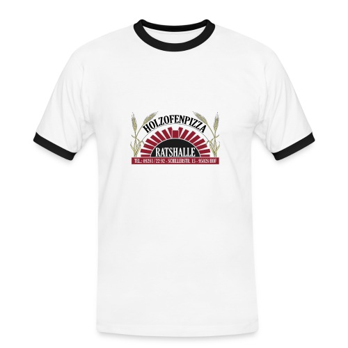 Holzofenpizza Ratshalle w/s (Männer) - Männer Kontrast-T-Shirt