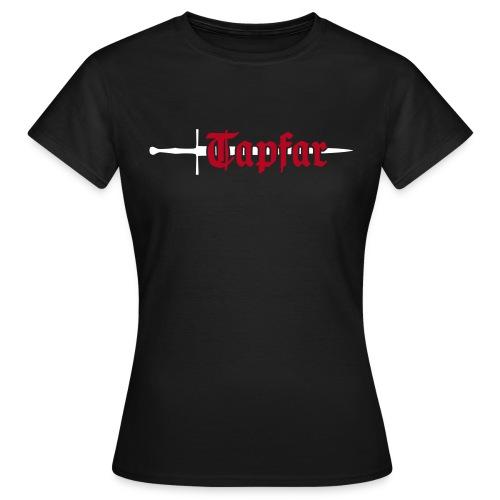 Frauen, Front & Rückseite, Baumwolle, Flockdruck (samtig) - Frauen T-Shirt