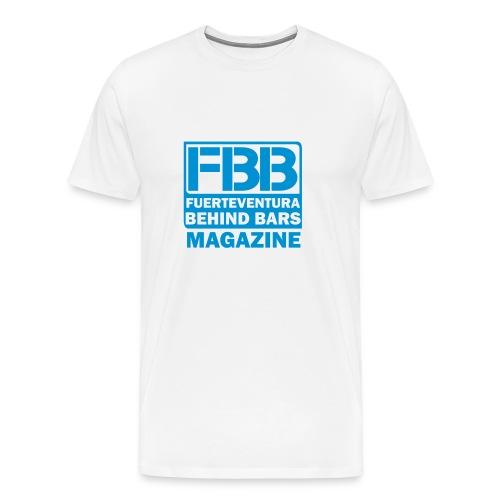FBB LOGO MEN'S T-SHIRT (WHITE) - BLUE PRINT - Men's Premium T-Shirt
