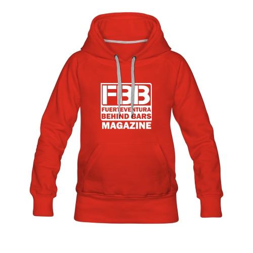 FBB LOGO WOMEN'S HOODIE (RED) - WHITE PRINT - Women's Premium Hoodie