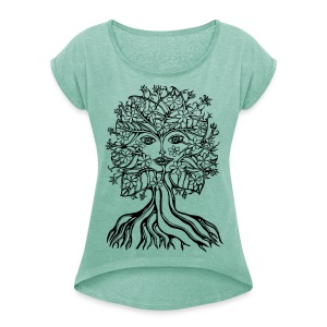 Tree fairy, save, earth, planet, forest, vegan T-Shirts - Women's T-shirt with rolled up sleeves