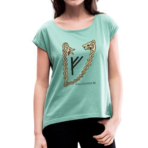 Valsgaard - Damen-Shirt - Frauen T-Shirt mit gerollten Ärmeln