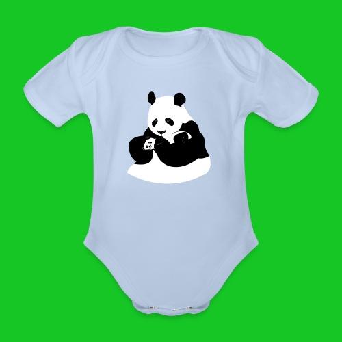 Panda met baby rompertje - Baby bio-rompertje met korte mouwen