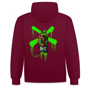 SPRAY A CROSS TIKI (green) - Kontrast-Kapuzenpullover
