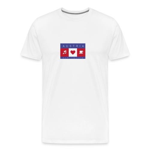 Austria - Österreich - Musik, Herz, Kaffee - Männer Premium T-Shirt
