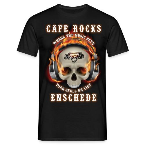 Burning Skull + Headphones - Mannen T-shirt