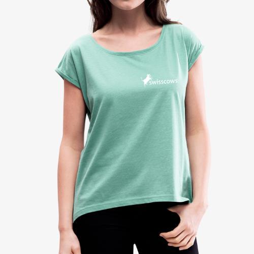 Frauen T-Shirt mit gerollten Ärmeln - Frauen T-Shirt mit gerollten Ärmeln