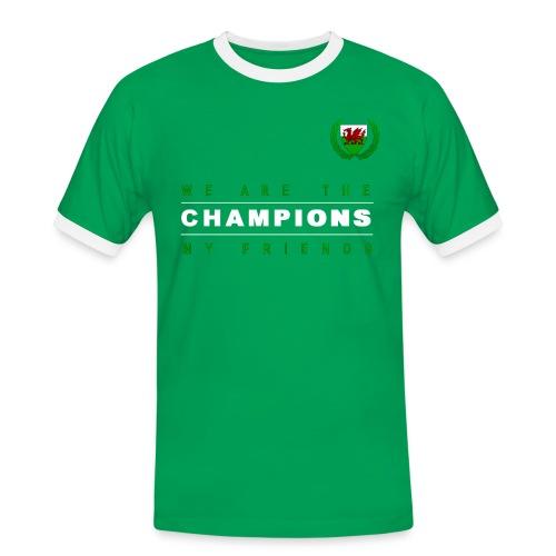 Wales Champions men red+green - Men's Ringer Shirt