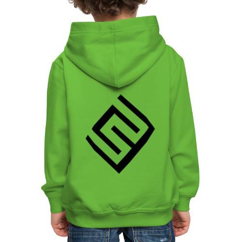 Grön tjockluva, barn, svart loggo - Premium-Luvtröja barn